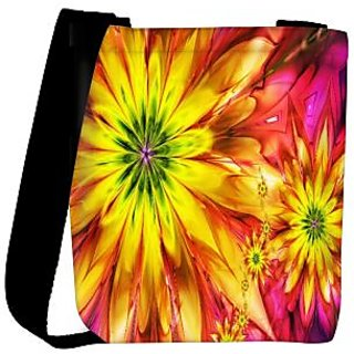 Snoogg Bright Fractal Daisies 2597 Designer Womens Carry Around Cross Body Tote Handbag Sling Bags RPC-2597-SLTOBAG