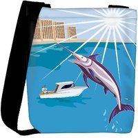 Snoogg Blue Marlin Fish Jumping Retro Designer Protective Back Case Cover For Oneplus 3 Designer Womens Carry Around Cross Body Tote Handbag Sling Bags RPC-4033-SLTOBAG