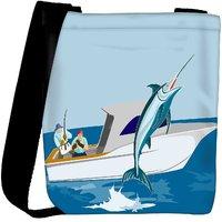 Snoogg Blue Marlin Fish Jumping Retro Designer Protective Back Case Cover For Oneplus 3 Designer Womens Carry Around Cross Body Tote Handbag Sling Bags RPC-4035-SLTOBAG