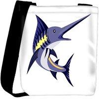 Snoogg Blue Marlin Fish Jumping Retro Designer Protective Back Case Cover For Oneplus 3 Designer Womens Carry Around Cross Body Tote Handbag Sling Bags RPC-4039-SLTOBAG