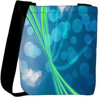 Snoogg Blue Nature Abstract Bokeh Background Designer Womens Carry Around Cross Body Tote Handbag Sling Bags RPC-4043-SLTOBAG