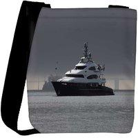 Snoogg White Boat In Water Designer Womens Carry Around Cross Body Tote Handbag Sling Bags RPC-9677-SLTOBAG