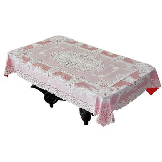 Katwa Clasic - 36 x 54 Inches Fancy Lace Vinyl Tablecloth (Red)