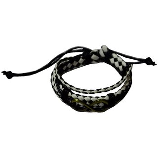 Men Style Handmade  infinty Multilayer Leather Zinc Alloy Charm Bracelets With Lace Up   White And Black  Leather Ancho