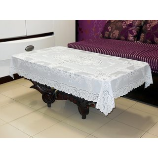 Katwa Clasic - 36 x 54 Inches Fancy Lace Vinyl Tablecloth (White)