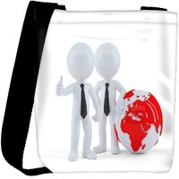 Snoogg Business People Standing In Front Of The Globe Business Concept Designer Protective Back Case Cover For Oneplus 3 Designer Womens Carry Around Cross Body Tote Handbag Sling Bags RPC-4080-SLTOBAG