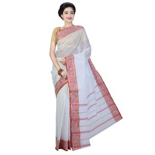 Sanwara White Cotton Printed Saree With Blouse