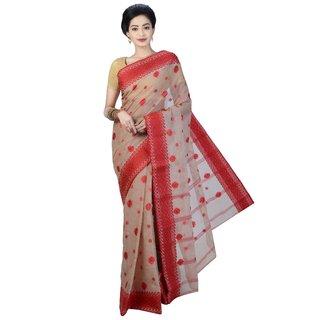 Sanwara Red Cotton Printed Saree With Blouse