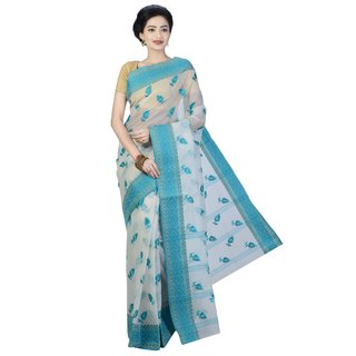 Sanwara Fashions Green Cotton Self Design Saree With Blouse