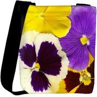 Snoogg Closeup Of Colourful Viola Tricolor Designer Protective Back Case Cover For Oneplus 3 Designer Womens Carry Around Cross Body Tote Handbag Sling Bags RPC-4152-SLTOBAG