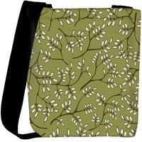 Snoogg White Leaves Pattern Green Designer Womens Carry Around Cross Body Tote Handbag Sling Bags RPC-9877-SLTOBAG