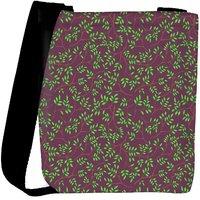 Snoogg Green Leaves Brown Pattern Designer Womens Carry Around Cross Body Tote Handbag Sling Bags RPC-9881-SLTOBAG