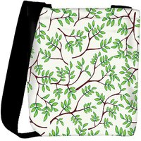 Snoogg Green Leaves Pattern Cream Designer Womens Carry Around Cross Body Tote Handbag Sling Bags RPC-9883-SLTOBAG