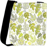 Snoogg Yellow Leaves Cream Pattern Designer Womens Carry Around Cross Body Tote Handbag Sling Bags RPC-9887-SLTOBAG