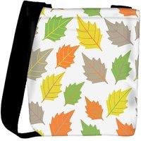 Snoogg Colorful Leaves White Pattern Designer Womens Carry Around Cross Body Tote Handbag Sling Bags RPC-9897-SLTOBAG