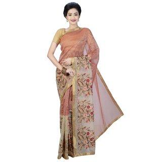 Sanwara Fashions Maroon Cotton Self Design Saree With Blouse