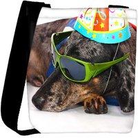 Snoogg A Dogs Life Having Fun At A Party Designer Womens Carry Around Cross Body Tote Handbag Sling Bags RPC-3872-SLTOBAG