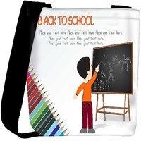 Snoogg Cute Boy Standing In Front Of Blackboard Designer Protective Back Case Cover For Oneplus 3 Designer Womens Carry Around Cross Body Tote Handbag Sling Bags RPC-4242-SLTOBAG