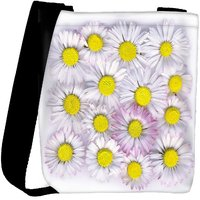 Snoogg Daisies Isolated On A White Background Designer Womens Carry Around Cross Body Tote Handbag Sling Bags RPC-4264-SLTOBAG