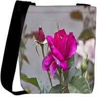 Snoogg Dark Pink Rose Flower Designer Protective Back Case Cover For Oneplus 3 Designer Womens Carry Around Cross Body Tote Handbag Sling Bags RPC-4266-SLTOBAG