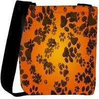 Snoogg Dog Paws Orange Background Designer Protective Back Case Cover For Oneplus 3 Designer Womens Carry Around Cross Body Tote Handbag Sling Bags RPC-4296-SLTOBAG