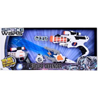 Space Wars Series Planet Of Toys Space Weapon Set 1 Gun (28Cms), 1 Gun (19Cms), 1 Laser Lightsaber (60Cms), Dart Blaster With 4 Darts