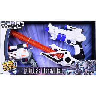 Space Wars Series Planet Of Toys Space Weapon Set Combo 1 Gun (24Cms), 1Gun (17 Cms), 1 Lightsaber (51 Cms) Orange (Detailed Handle)
