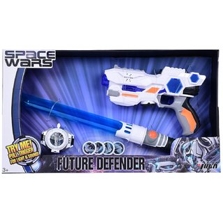 Space Wars Series Planet Of Toys Space Weapon Set Combo Gun 24Cms, Expandable Lightsaber 61Cms, (Led Light And Sound) Dart Blaster With 4 Darts