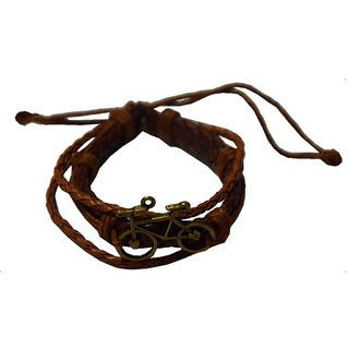 Men Style Handmade Bicycle Multilayer Leather Zinc Alloy Charm Bracelets With Lace Up   Brown  Leather  Bicycle Bracele