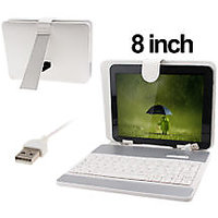 8 Inch USB Keyboard Leather Case Cover For Bsnl PENTA T PAD WS 802 C WS802C 2G Tablet - Assorted Color