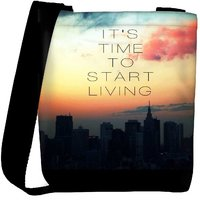 Snoogg Its Time To Start Living Designer Protective Back Case Cover For Oneplus 3 Designer Womens Carry Around Cross Body Tote Handbag Sling Bags RPC-3483-SLTOBAG