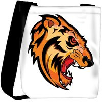 Snoogg Angry Tiger Face Mascot Vector Tattoo Designer Protective Back Case Cover For Oneplus 3 Designer Womens Carry Around Cross Body Tote Handbag Sling Bags RPC-3905-SLTOBAG