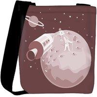 Snoogg Astronaut Landing On Moon Retro Designer Protective Back Case Cover For Oneplus 3 Designer Womens Carry Around Cross Body Tote Handbag Sling Bags RPC-3923-SLTOBAG
