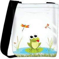Snoogg Background With Frog Designer Womens Carry Around Cross Body Tote Handbag Sling Bags RPC-3950-SLTOBAG