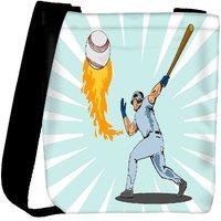 Snoogg Baseball Player Batting Ball Flames Designer Protective Back Case Cover For Oneplus 3 Designer Womens Carry Around Cross Body Tote Handbag Sling Bags RPC-3964-SLTOBAG
