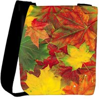 Snoogg Beautiful Autumn Maple Leaves Background Designer Protective Back Case Cover For Oneplus 3 Designer Womens Carry Around Cross Body Tote Handbag Sling Bags RPC-3976-SLTOBAG