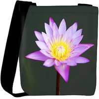 Snoogg Beautiful Purple Waterlily In A Pond Designer Protective Back Case Cover For Oneplus 3 Designer Womens Carry Around Cross Body Tote Handbag Sling Bags RPC-3988-SLTOBAG