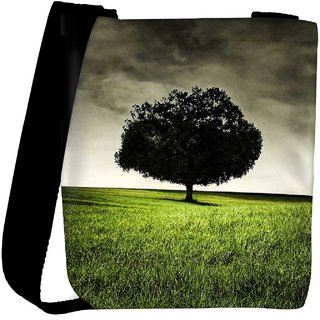 Snoogg Single Tree On Hill Designer Protective Back Case Cover For Oneplus 3 Designer Womens Carry Around Cross Body Tote Handbag Sling Bags RPC-3468-SLTOBAG
