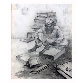 A pencil sketch of a carpenter