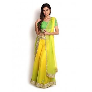 Shaded Yellow  Lime Green Georgette Lehenga