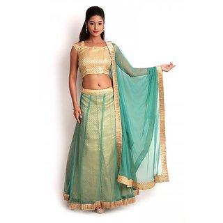 Green Net-Banarasi 3Pc Lehenga