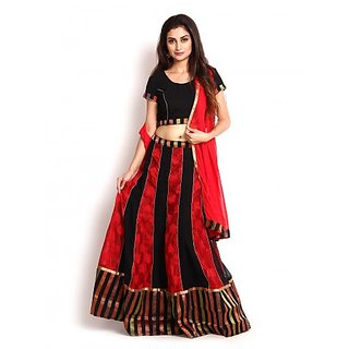 Black  Red Banarasi and Georgette Lehenga