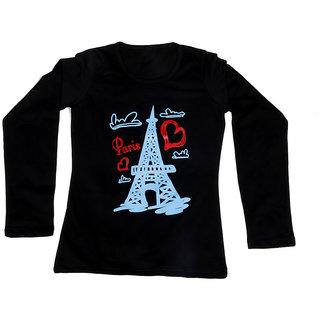 IndiWeaves Girls Cotton Round Neck Full Sleeves Printed T-Shirt