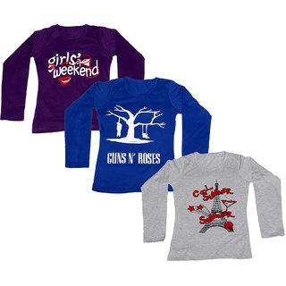 IndiWeaves Girls Cotton Round Neck Full Sleeves Printed T-Shirt (Set of -3)