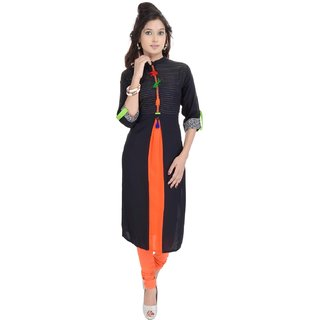 Themes Creations Black & Orange Plain Georgette & Rayon Straight Kurti