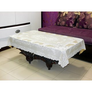 Katwa Clasic - 36 x 54 Inches Fancy Lace Vinyl Tablecloth (Beige)