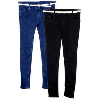 IndiWeaves Girls Combo Offer Blue Black Denim Jeans (Set of -2)
