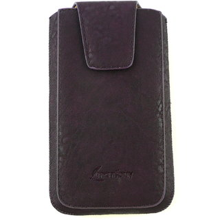 Emartbuy Classic Range Purple Luxury PU Leather Slide in Pouch Case Cover Sleeve Holder ( Size 3XL ) With Magnetic Flap  Pull Tab Mechanism Suitable For  Lenovo A2860 Smartphone