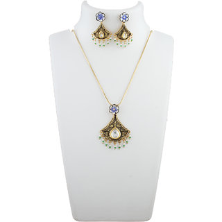 4611ecc517 Anuradha Art Golden Colour Styled With Shimmering Stone Mina Kundan Work Pendant  Set For Women/Girls