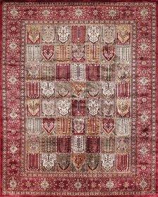 Rugsville Kashmir Silk Collection Red Black Hand-Knotted Silk Rug 21428 8x10 feet